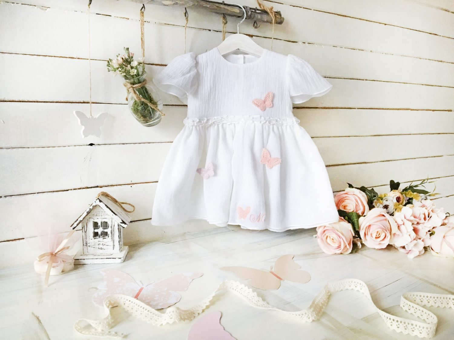 Rochita Botez Personalizata Pink Butterflies Baby Girl Dress